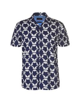 Pierre Cardin Reverse Geometric Print Short Sleeve Shirt Mens